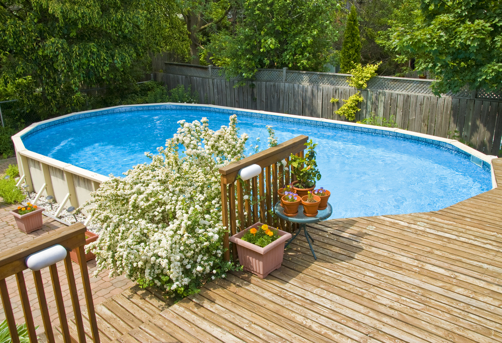 Example of above-ground swimming pool that could be installed by Preston Greenhouse